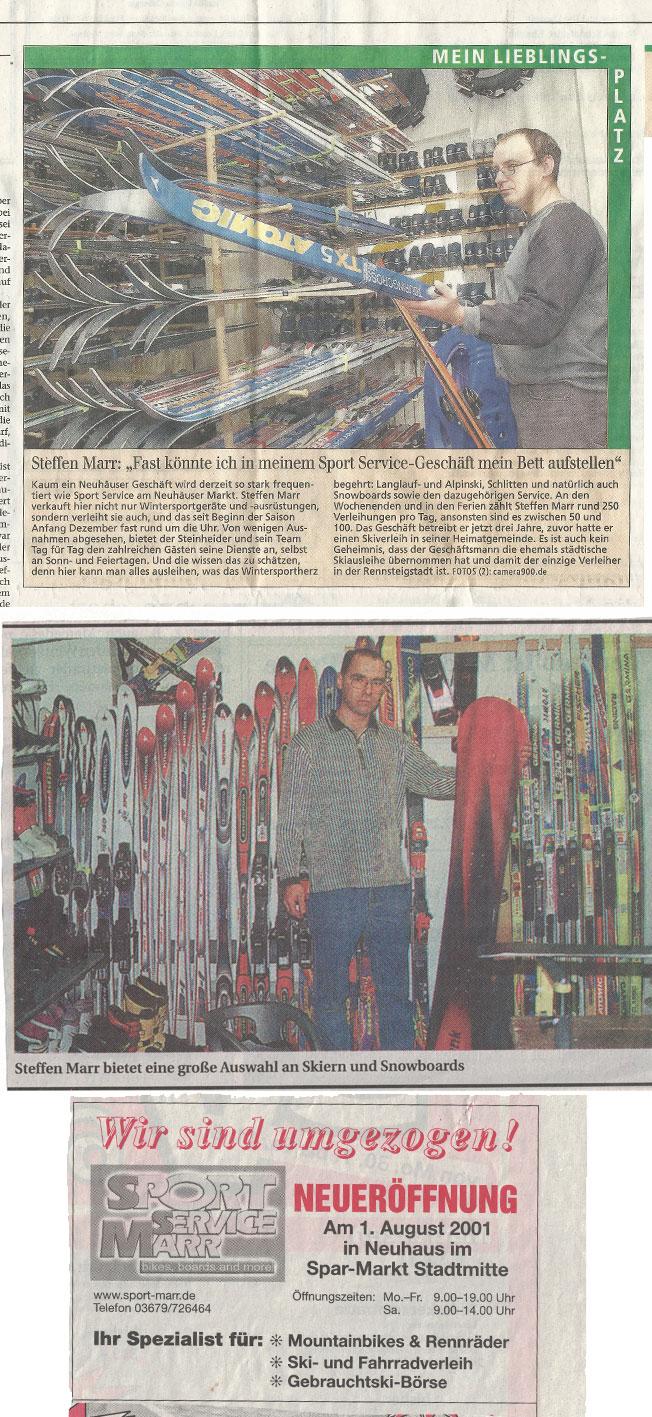 verschiedene Zeitungsartikel über Ski Bike Marr und die Neueröffnung in Neuhaus am Rennweg