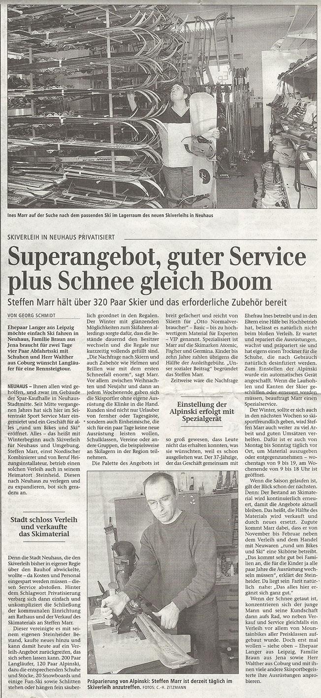 Zeitungsartikel Super Angebot, guter Service plus Schnee gleich Boom